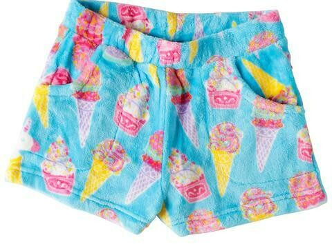 Aqua Blue Ice Cream Fleece Shorts Size 7/8