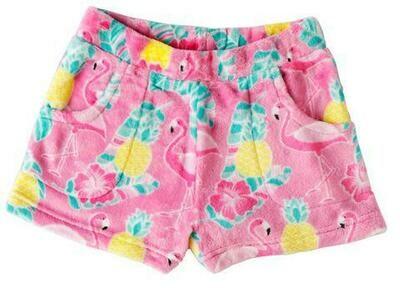 Pink Flamingo Fleece Shorts Size 7/8
