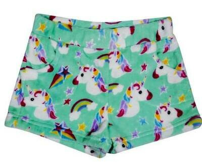 Green Unicorn Fleece Shorts Size 7/8, 10/12