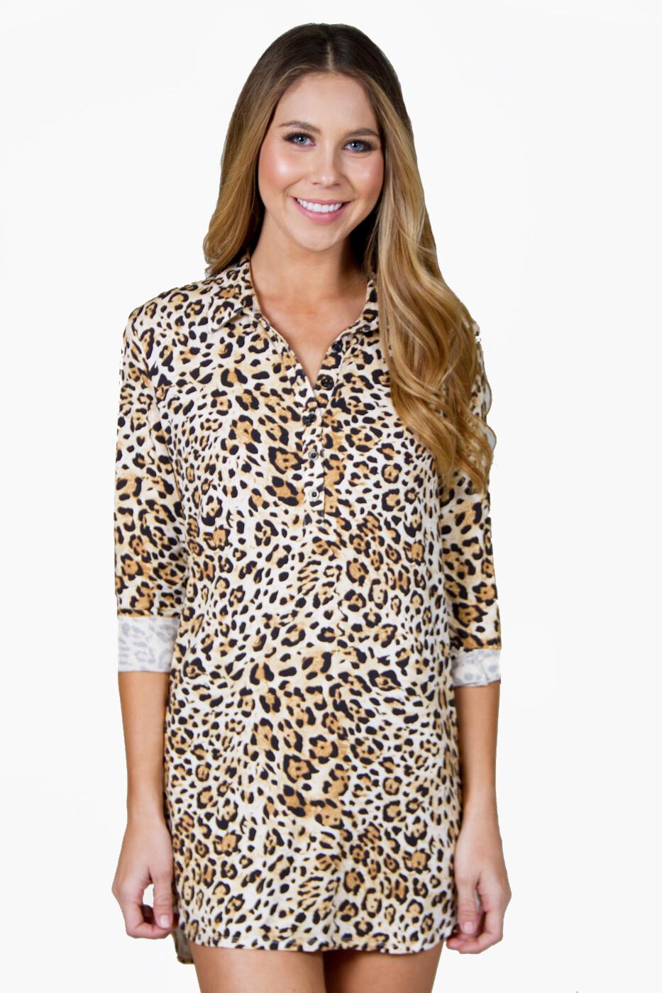 PJ Salvage Womens Cheetah Pajama Night Shirt Size XS
