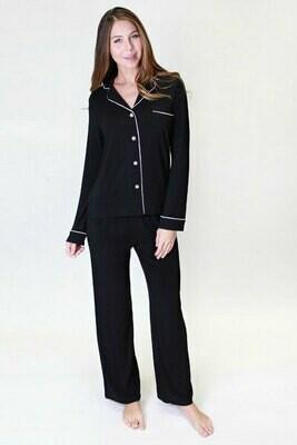PJ Salvage Black Modal Button Up Long Sleeve Pant Set Size XS, L, XL