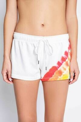 PJ Salvage Luv Rules Ivory Rainbow Tie Dye PJ Shorts  Size  XS, M, XL