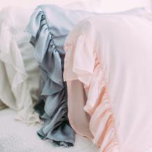 Grey or Pink Ruffled Silk Pillowcase Standard Size