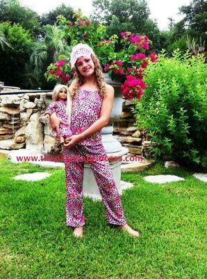 Laura Dare Pink Leopard PJ Set  Size 4