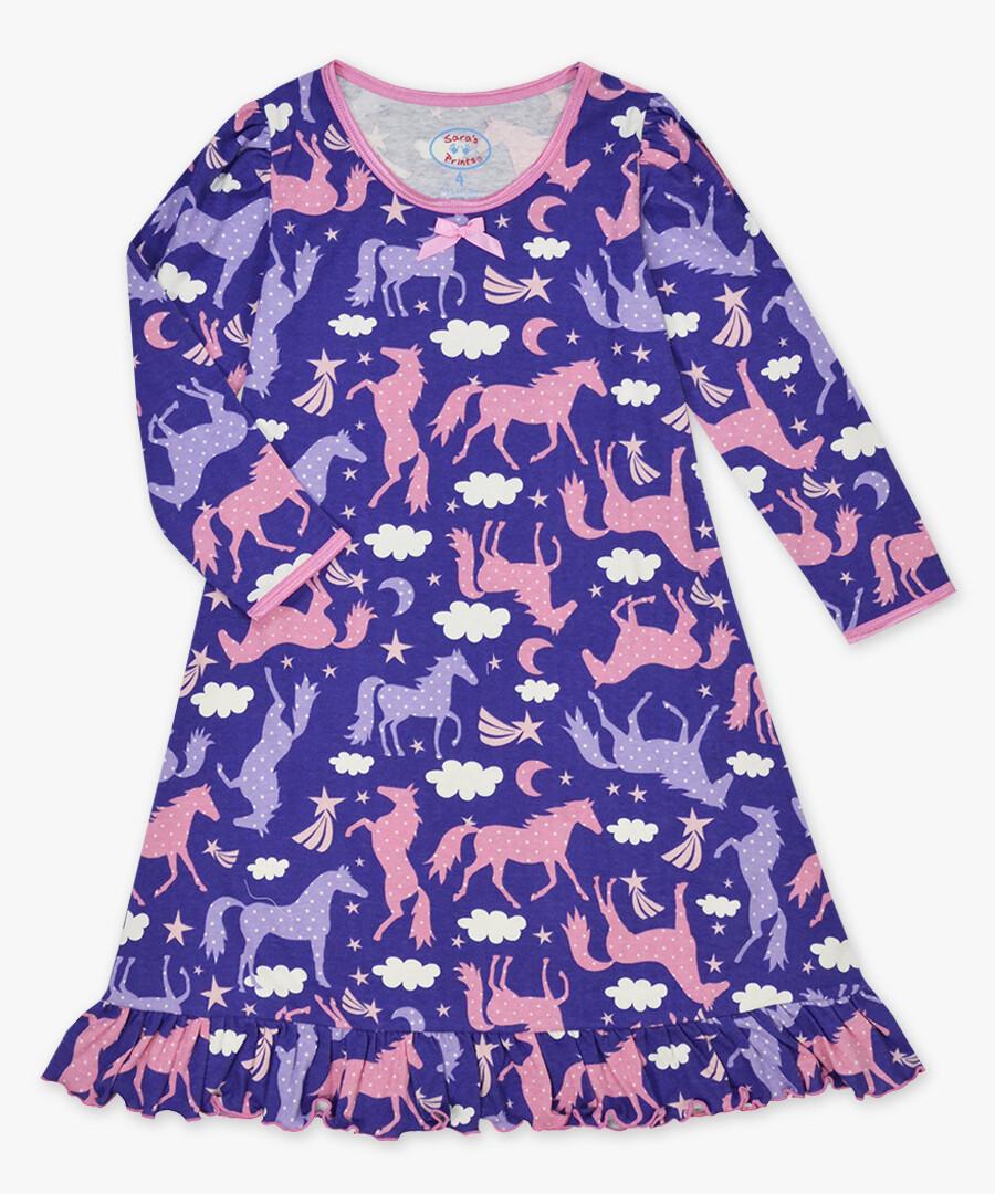 Saras Prints Super Soft Purple Horse Nightgown Size 2