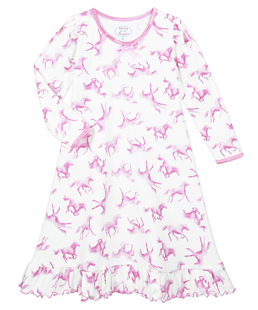 Saras Prints Super Soft Pink Horse Nightgown Size 2