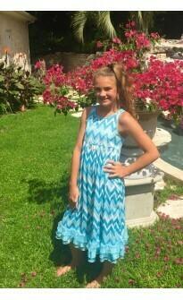 Laura Dare Blue Chevron Nightgown  Size 2, 3
