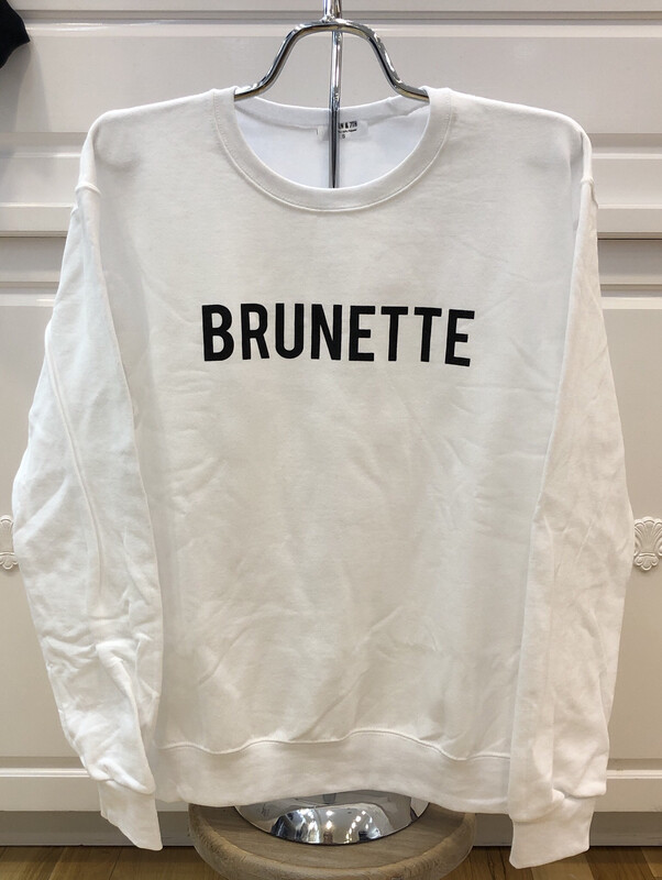 Brunette on White Sweatshirt