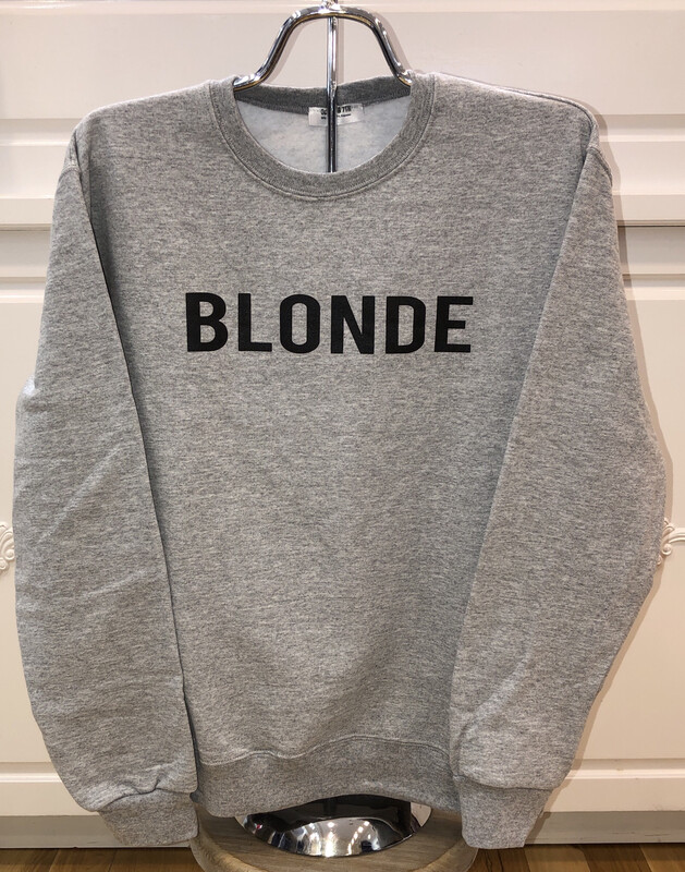 Blonde on Gray Sweatshirt