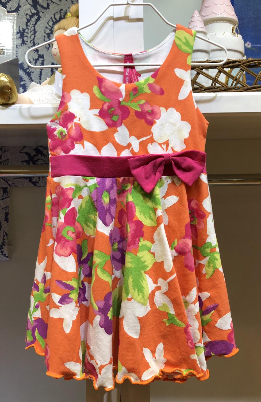 Coral Floral Print Dress