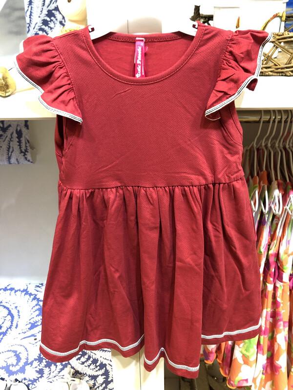 Red Ribbon Trim Mini Dots Dress
