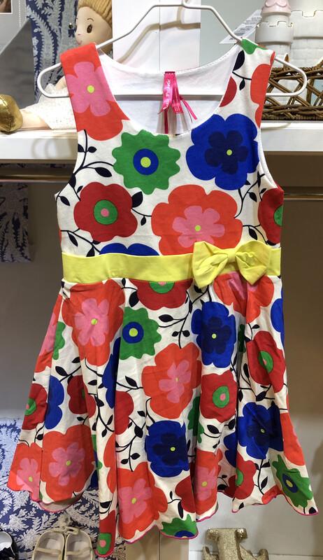 Navy Floral Yellow Ribbon Dress