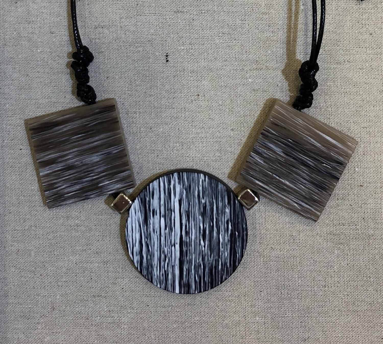 Blocks & Circle Adjustable Cord Necklace