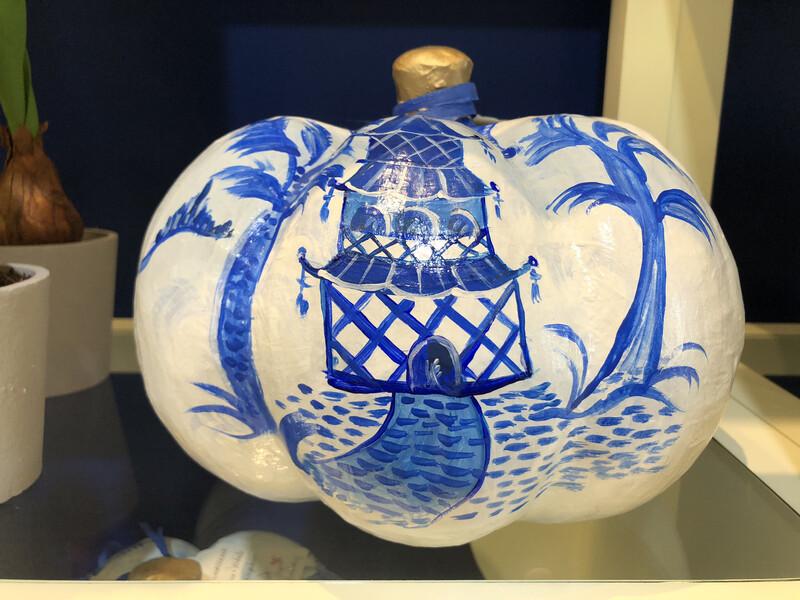 Blue & White Chinoiserie Pumpkin