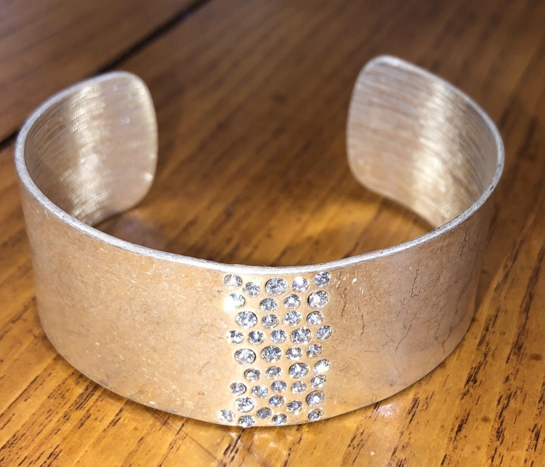 Caviar Crystal Silver Bangle
