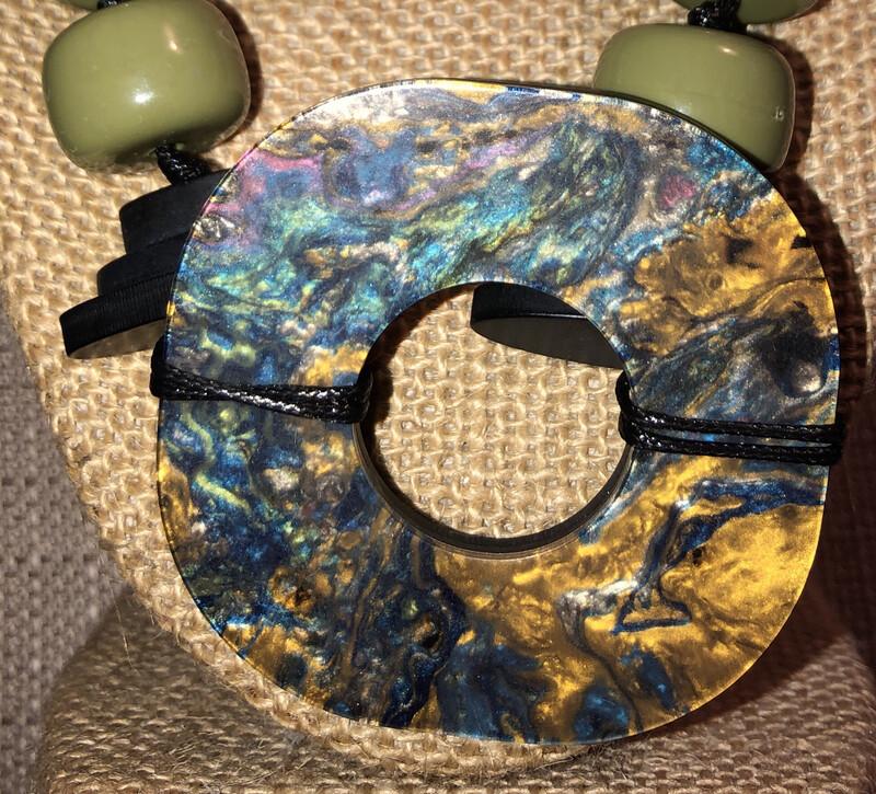 Olive, Orange & Black Beads Necklace