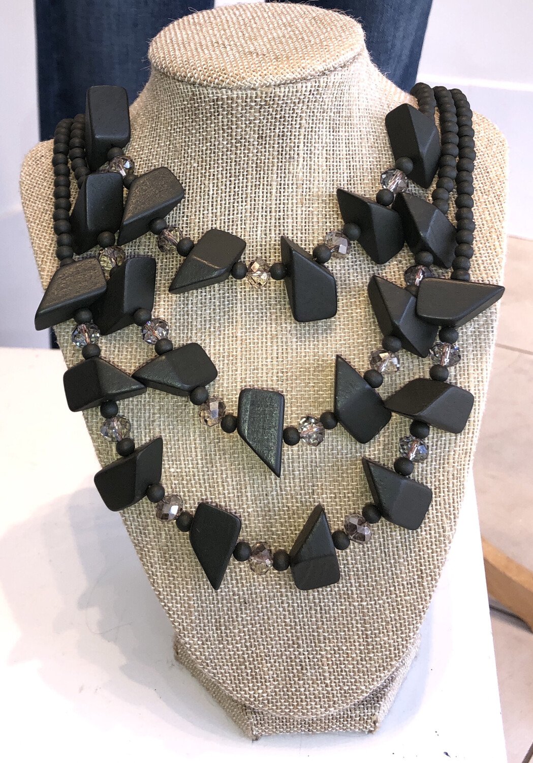 Olive Color Wood Bead Necklace
