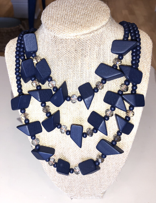 Navy Wood Bead Necklace