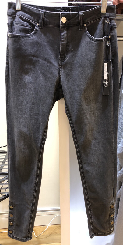 Rivet Button Cuff Black Jeans