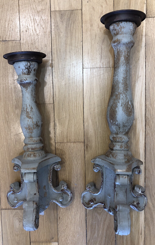 Set Of Two Distressed Candlesticks