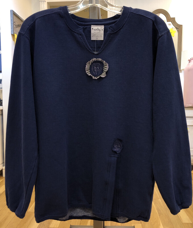 Denim Color Decorated Sweatshirt