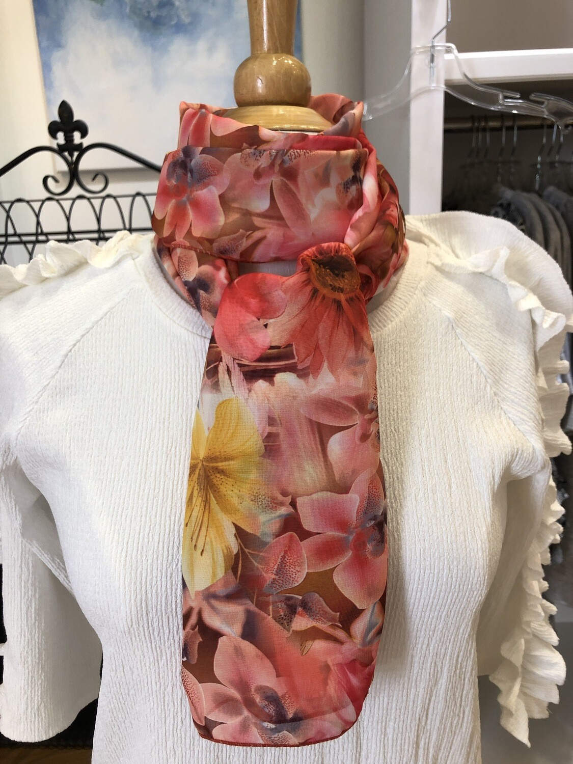Coral Bright Floral Oblong Scarf
