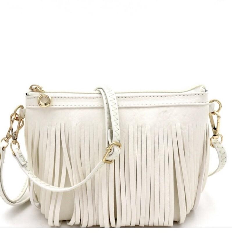 Fringe Crossbody Zip Bag