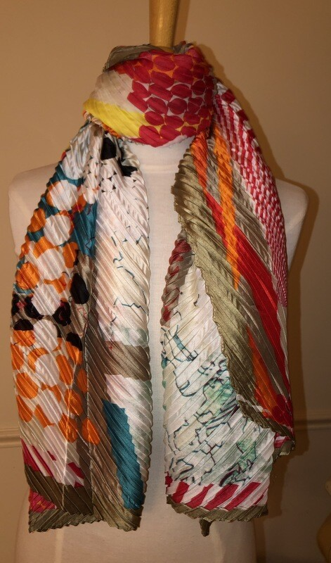Abstract Print Pleated Beige Scarf