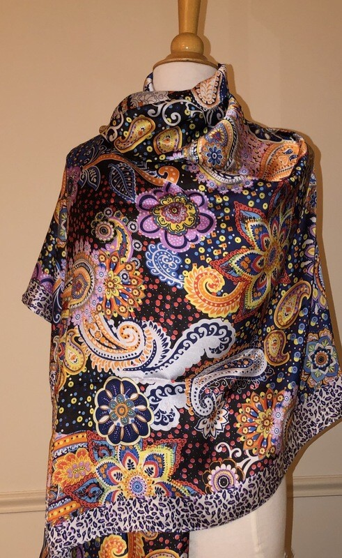 Paisley Animal Print Border Scarf