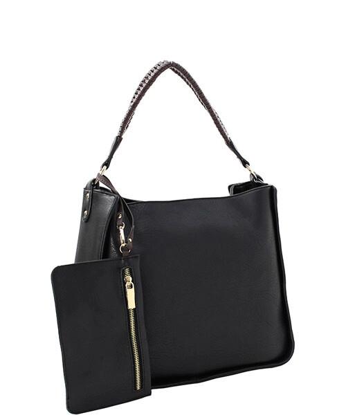 2-4-1 Handbag with Zip Clutch Black