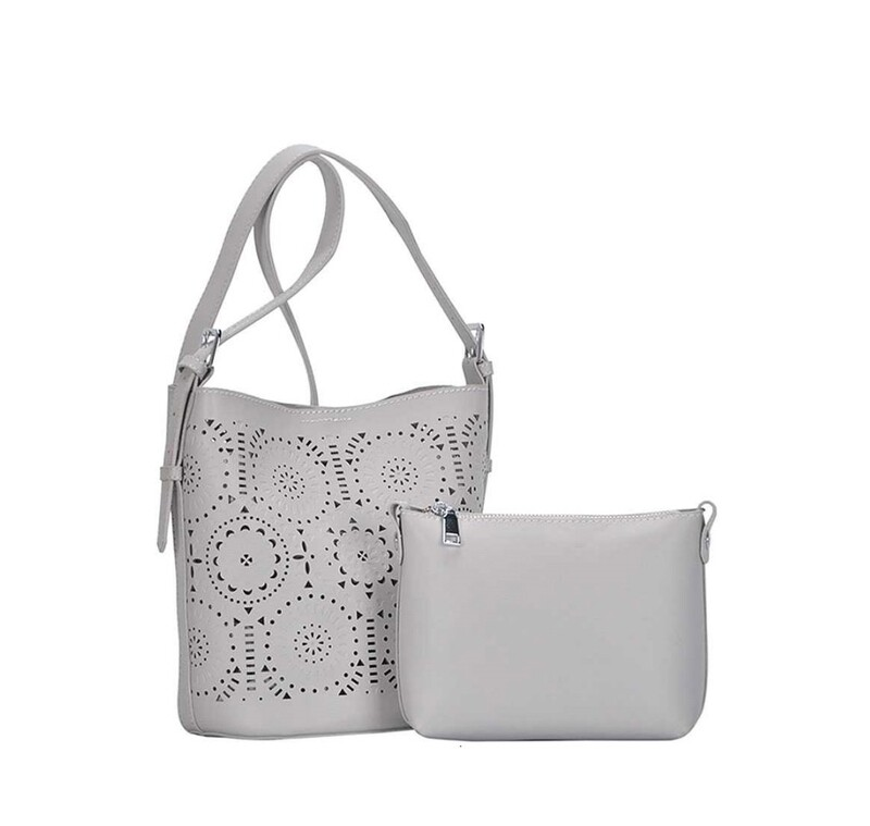 Light Gray Cutwork Handbag with Zip Cutch