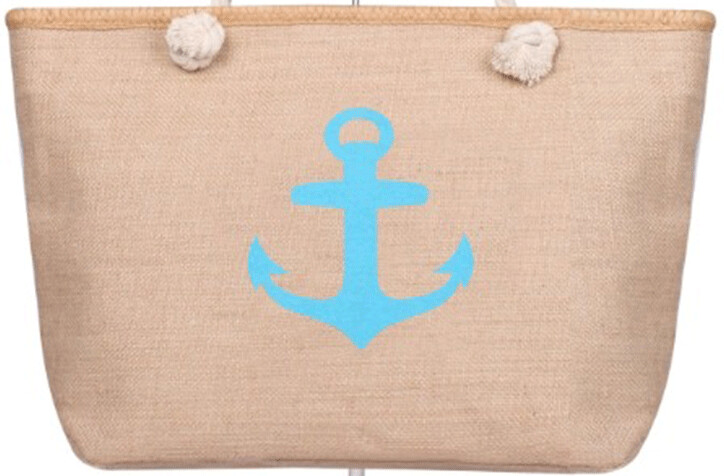 Aqua Anchor Zip Beach Tote Bag