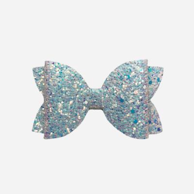 Silver/Blue Glitter Bow
