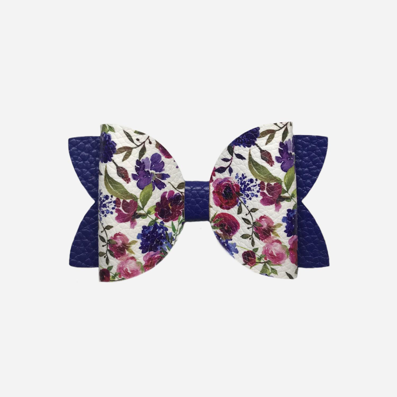 Royal Blue Floral Bow
