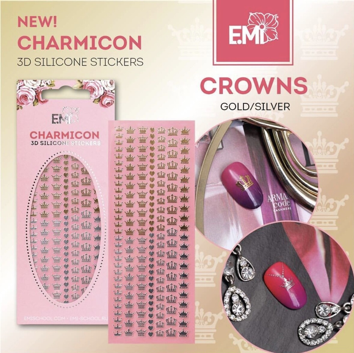 Charmicon Silicone Stickers Crowns Gold/Silver