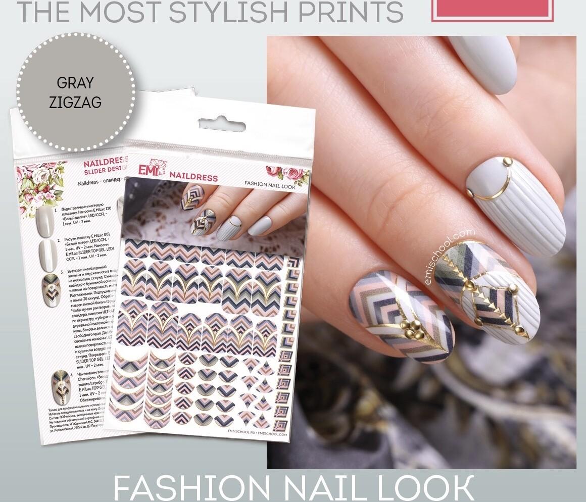 Naildress Slider Design Gray Zigzag