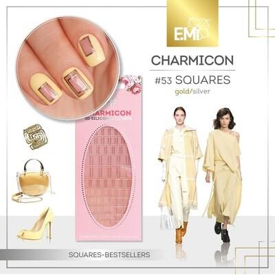 Charmicon XL Silicone Stickers #53 Squares Gold/Silver