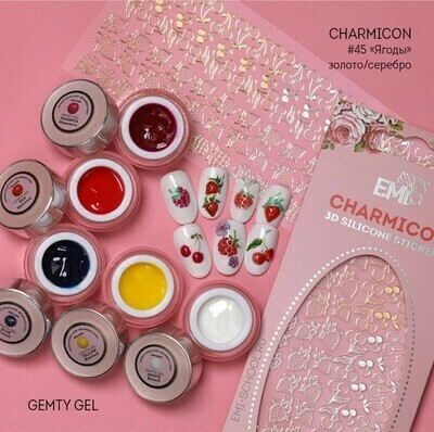 Charmicon Silicone Stickers #43 Berries Gold/Silver