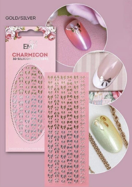 Charmicon Silicone Stickers Bows Gold/Silver