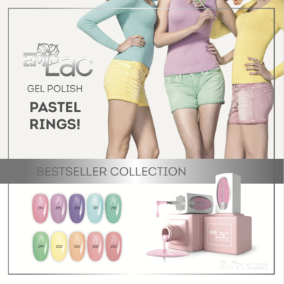 SET E.Milac Pastel Rings, 10x9 ml, Nu met gratis zelfklevende etiketten voor tips!