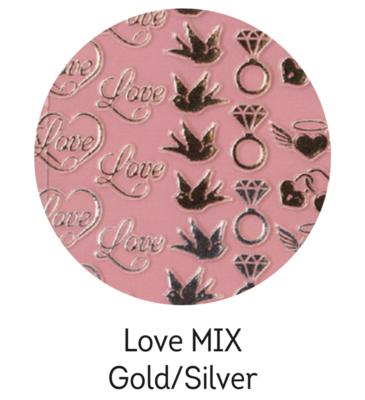 Charmicon Silicone Stickers Love MIX Gold/Silver