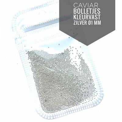 Silver Caviar metal beads 1 mm