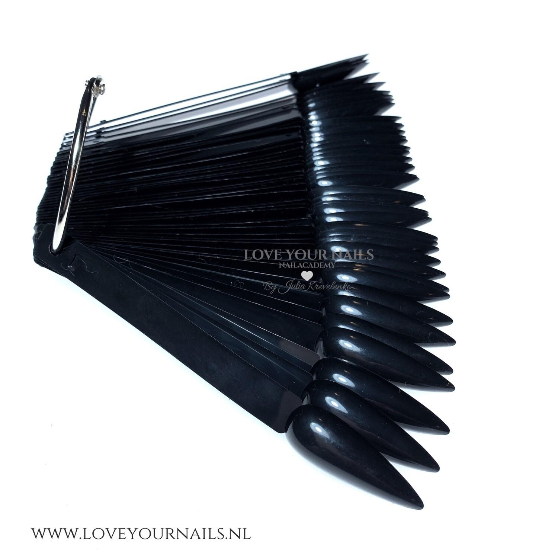 Black Stiletto Nail Display Tips Sticks with Ring. 50 pcs