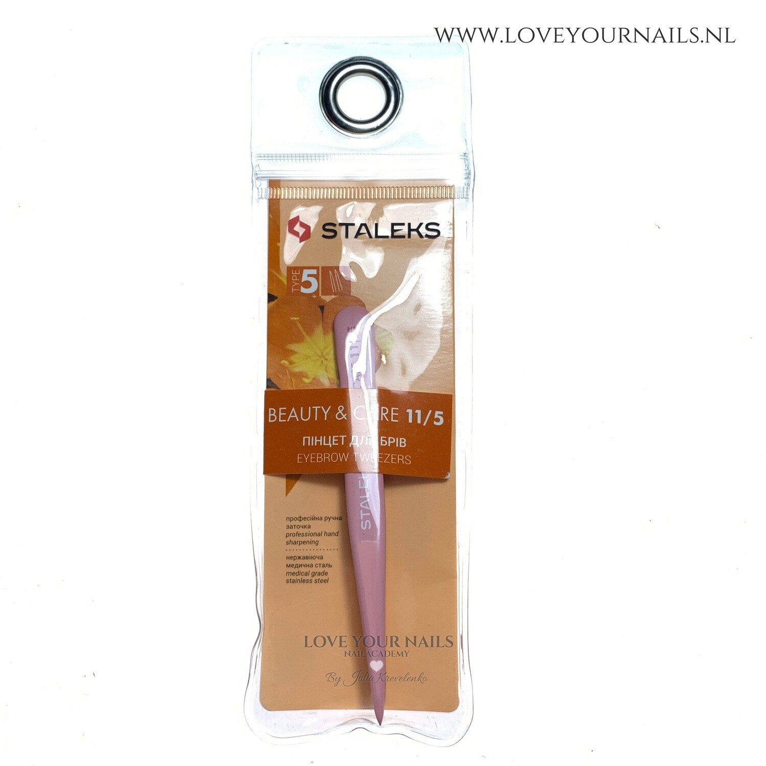 Staleks Beauty&Care 11/5 Eyebrow Tweezers (Point, Pink Colour)