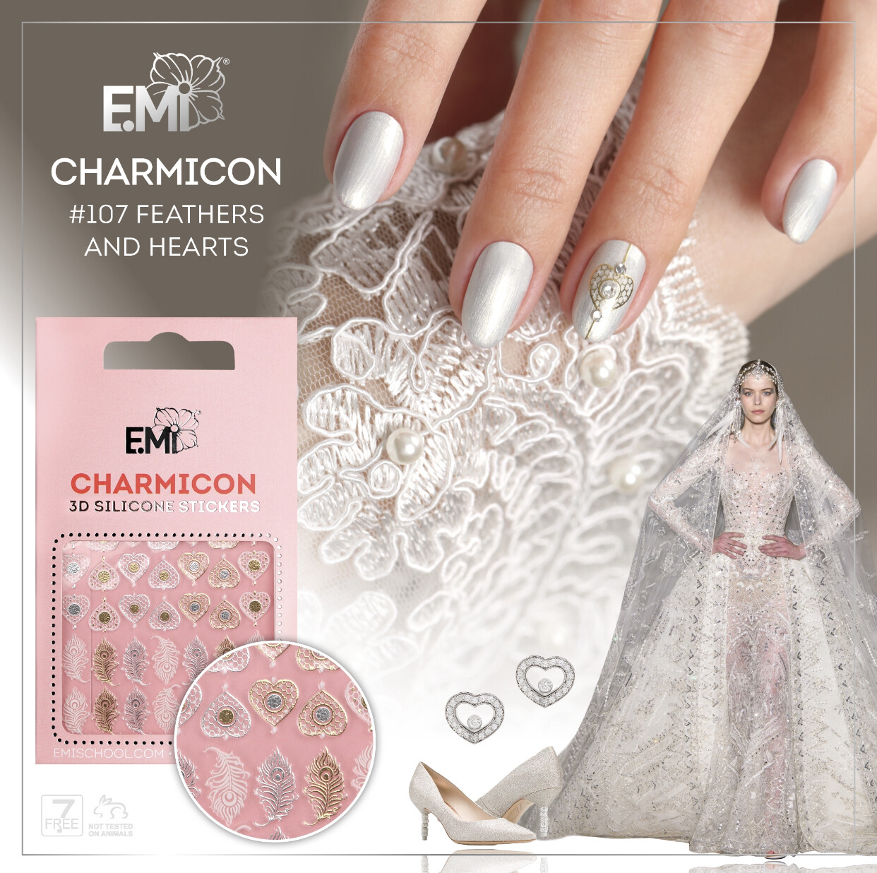 Charmicon Silicone Stickers #107 Feathers and Hearts