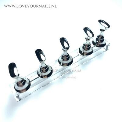 5 magnetische nailart tip houders, Zilver.
