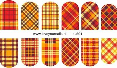 Schotse ruit motief, rood-oranje 1-601w