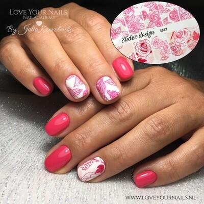 Rood met roze rozen 3387w