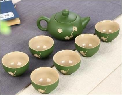 "Сервиз ""Зеленая сакура"", 6 пиал 30 мл., чайник 120 мл."