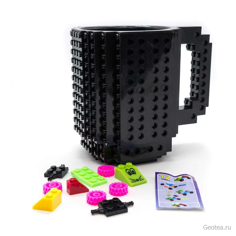 Кружка в стиле Лего 350 мл. черная с мини набором